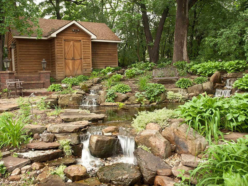 koi pond watergarden backyard waterfalls